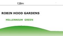 Robin Hood Gardens. Sección del conjunto. Autora del dibujo: Aránzazu Melon