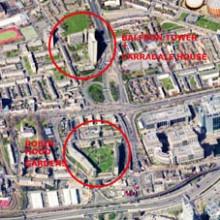 Vista aérea de Robin Hood Gardens y Balfron Tower (Londres)