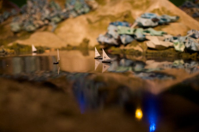 Under Tomorrows Sky movie miniature model installed in MU, Eindhoven.  Image by Boudewijn Bollmann