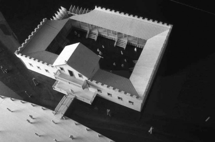 Reconstruction of a floating bath house in New York City; model by David Pascu (1999).