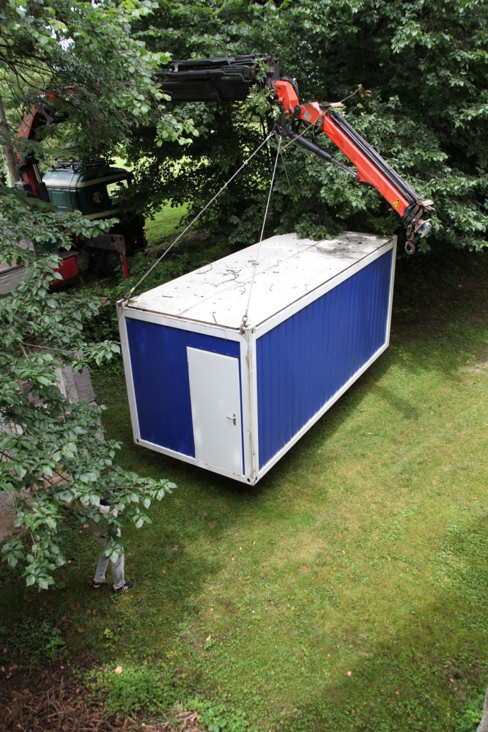 Setting up the container for 'Affordable Living'. Photo: Tomislav Vidović