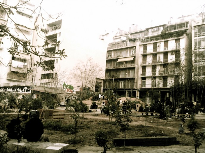 A former parking lot, squatted and transformed into a neighborhood park by a grassroots citizens' initiative in Athens, Greece. Photo: David Barrie on Flickr