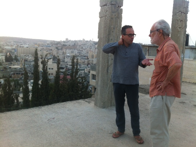 Alessandro Petti and David Harvey at Dheisheh camp. Photo by Pelin Tan, September 2015